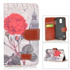 Rose Pattern Protective PU Leather + PC Case w/ Stand for Samsung Galaxy S5 - Grey + Red + Green