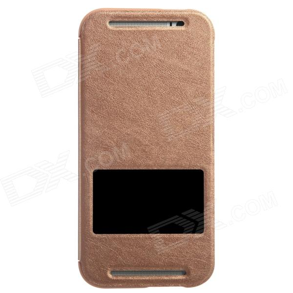 KALAIDENG Protective PU Leather Case Cover Stand w/ Visual Window for HTC One M8 - Brown kalaideng protective pu leather case cover w stand for samsung galaxy note 4 black