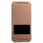 KALAIDENG Protective PU Leather Case Cover Stand w/ Visual Window for HTC One M8 - Brown