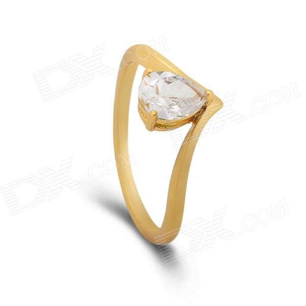 KCCHSTAR 24K Gold Plating Heart Style Crystal Finger Ring - Golden + Transparent (US Size 8)