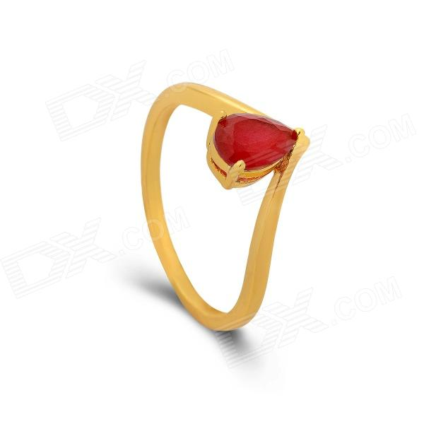 KCCHSTAR 24K Gold Plating Heart Style Crystal Finger Ring - Golden + Red (US Size 8)