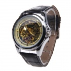 WINNER Fashionable Stainless Steel Casing Analog Mechanical Watch for Men - Black + Silver + Yellow