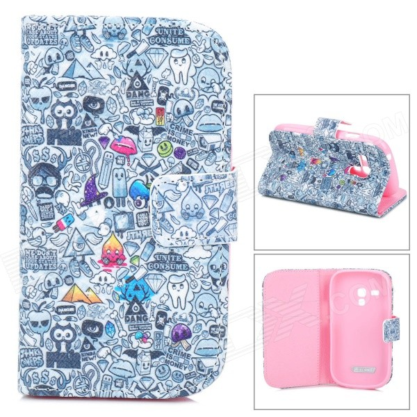 EyeSpy Game Pattern Protective PU Leather Case for Samsung Galaxy S3 Mini i8190 / i8160 - Grey