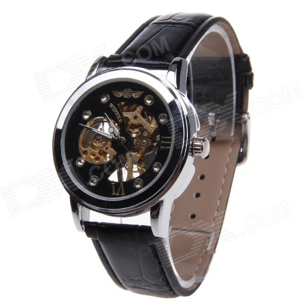 WINNER U8018 Men's Fashionable Split Leather Band Analog Mechanical Wrist Watch - Black + Silver