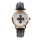 WINNER Women's Fashionable Stainless Steel Casing Split Leather Band Analog Mechanical Wristwatch