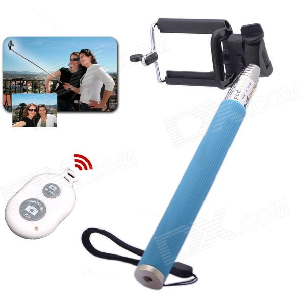 Bluetooth Remote Stainless Steel Handheld Monopod w/ Mini Holder Adapter - Blue
