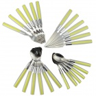 E2CM Stainless Steel Knife + Fork + Spoon Set - Fluorescent Green + Silver (24 PCS)