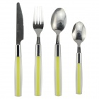 Stainless Steel Knife + Fork + Spoon Set - Fluorescent Green + Silver (24 PCS)