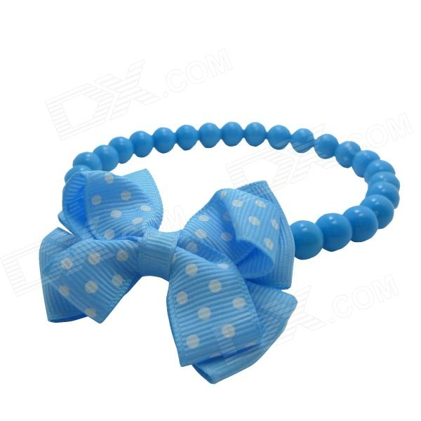 Cartoon Bowknot Pendant Plastic + Cotton Necklace for Dog / Cat - Blue + White