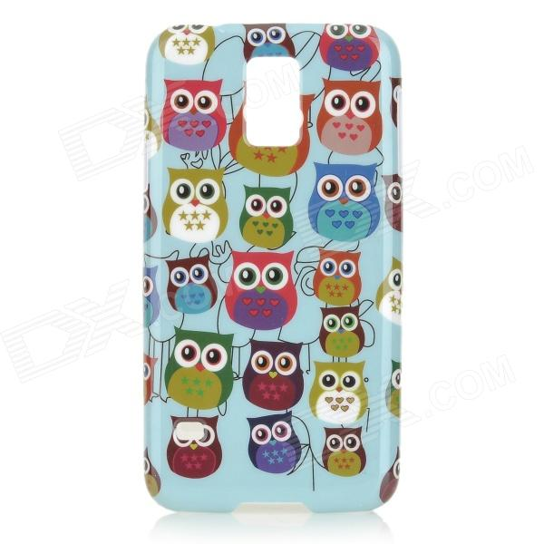 Owl Pattern Protective Plastic Back Case for Samsung Galaxy S5 -Light  Blue + Multicolored cute owl pattern protective silicone back case for samsung galaxy s5 light green black