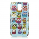 Owl Pattern Protective Plastic Back Case for Samsung Galaxy S5 -Light  Blue + Multicolored