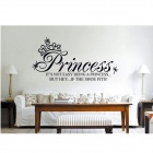 Princess English Alphabet Pattern PVC Wall Art Stickers Wallpapers Decal - White + Black