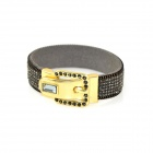 Rhinestone Studded Belt Buckle Wide Bracelet - Dark Grey