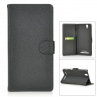 Protective Split Leather Case w/ Stand for Sony Xperia T2 Ultra - Black