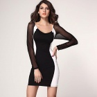 Hourglass Mesh Long Sleeves Bodycon Dress - Black + White (Size L)