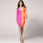 Open Front Patchwork Bodycon Dress- Yellow + Pink (Size L)
