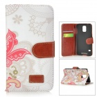Sunflower Pattern Protective PU Leather + PC Case w/ Stand for Samsung Galaxy S5 - Red + Multicolor