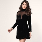 Mesh Insert Velvet Skater Dress - Black