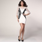 Long Sleeves Vintage Lace Bodycon Dress - White