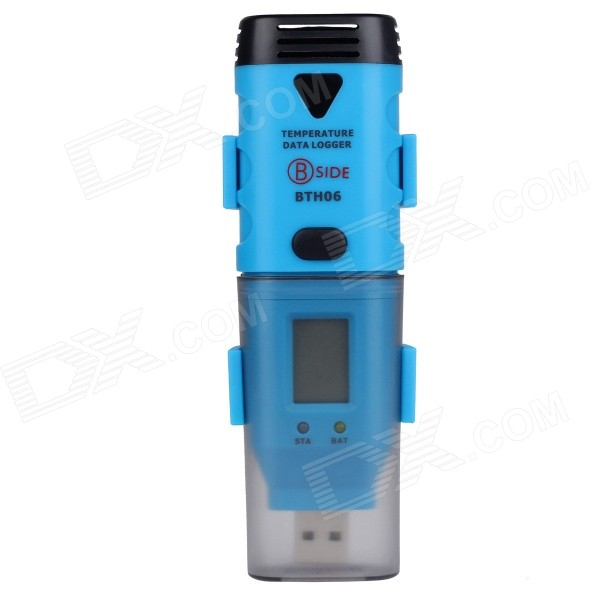 BSIDE BTH06 USB External High Accuracy Temperature Probe Temperature Recorder - Black + Blue free shipping btho2 two channel humidity temperature and dew point data logger with usb interface and lcd display