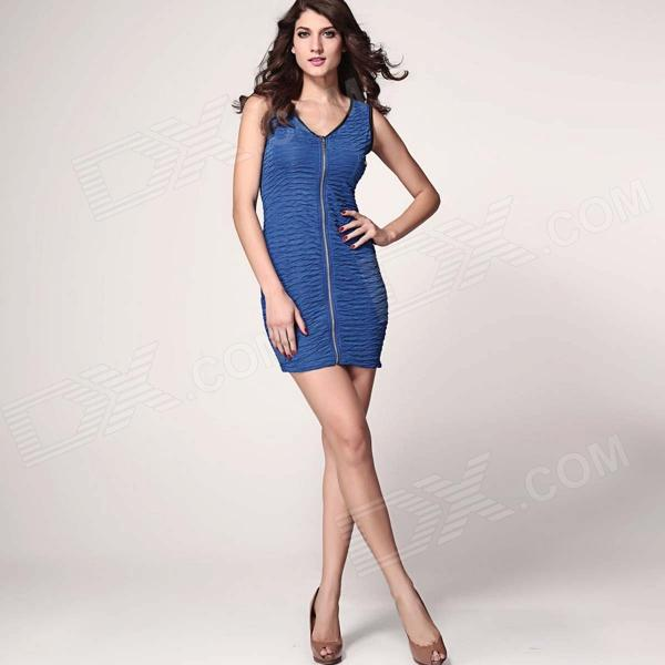 Stretch Mini Dress with Continuous Zip - Blue