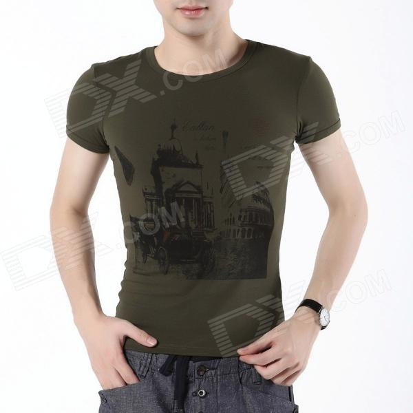 FENL L930-2 Fashion Men's Summer Round Neck Cotton Short Sleeves T-shirt Tee - Army Green (Size S) fashion women s fringed hem short sleeve crew neck cotton t shirt grey white l