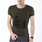 FENL L930-2 Fashion Men's Summer Round Neck Cotton Short Sleeves T-shirt Tee - Army Green (Size S)