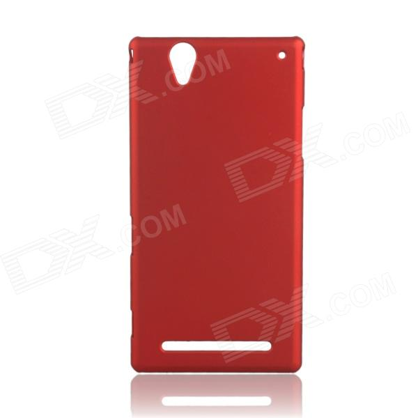 Fashionable Super Thin Protective Glaze PC Back Case for SONY T2 - Wine Red 1more super bass headphones black and red
