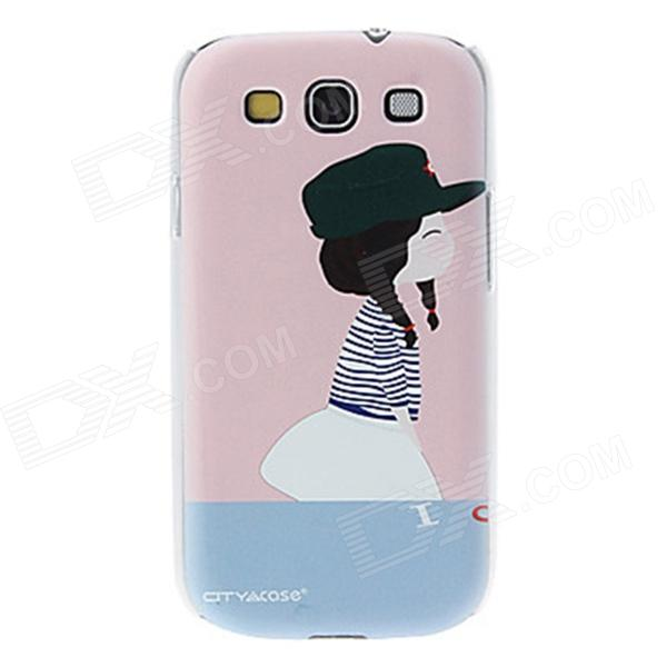 Kinston Little Girl Pattern Protective Plastic Back Case for Samsung Galaxy S3 i9300 - Blue + Pink