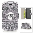 Triangle Eye Pattern Protective PU-Leder + ABS-Fall w / Ständer für iPhone 4 / 4S - White + Black