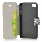 Triangle Eye Pattern protection en cuir PU + ABS Case w / stand pour l'iPhone 4 / 4S - Blanc + Noir