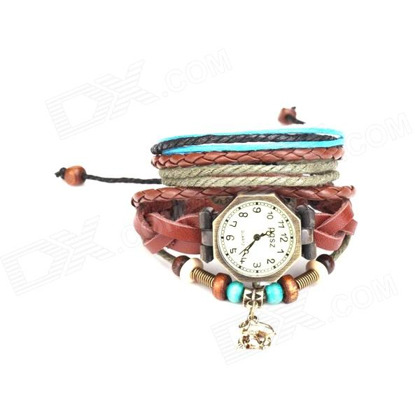Split Leather Band Analog Quartz Watch + Handwork Retro Style Bracelet for Women (1 x AG4)
