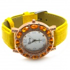 PU Leather Band Women's Quartz Analog Wrist Watch - Yellow