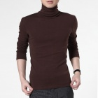FENL Men's Stylish High Collar Slim Long-sleeves Cotton + Polyester Tees - Coffee (Size L)