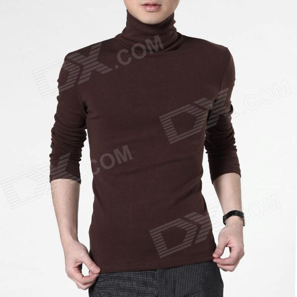 FENL Men's Stylish High Collar Slim Long-sleeves Cotton + Polyester Tees - Coffee (Size XL)