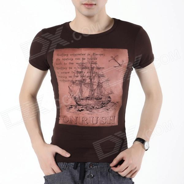 FENL E860-1 Fashionable Sailing Ship Pattern Short Sleeves Cotton T-shirt for Men - Coffee (Size M)