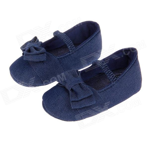 Cute Bowknot Comfortable Baby Shoes w/ Soft Soles - Dark Blue (3~6 Months / Pair)