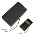 3 x D Battery Power Source Holder Case Box with Leads - Black