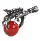 Retro Chinese Dragon Claw Shaped 316L Stainless Steel Necklace Pendant - Antique Silver + Red