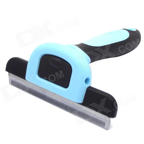 Dele Pet Fur Rake Metal Blade Dog Cat Short Tiny Hair Shedding Grooming Comb Brush - Blue (100mm)
