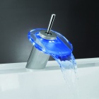 LD8006-014B Single Handle Temperature Controlled Sensor LED Waterfall Faucet w/ Tube