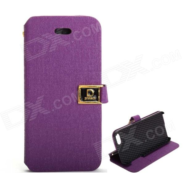 Protective PU Leather Case with Dual Card Slot and Holder for IPHONE 5 / 5S - Purple pu leather rfid card case badge plastic id card holder for employee fair 10pcs lot
