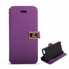 Protective PU Leather Case with Dual Card Slot and Holder for IPHONE 5 / 5S - Purple