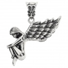 DIY Fashionable Retro Style 316L Stainless Steel Angel Shaped Necklace Pendant - Silver