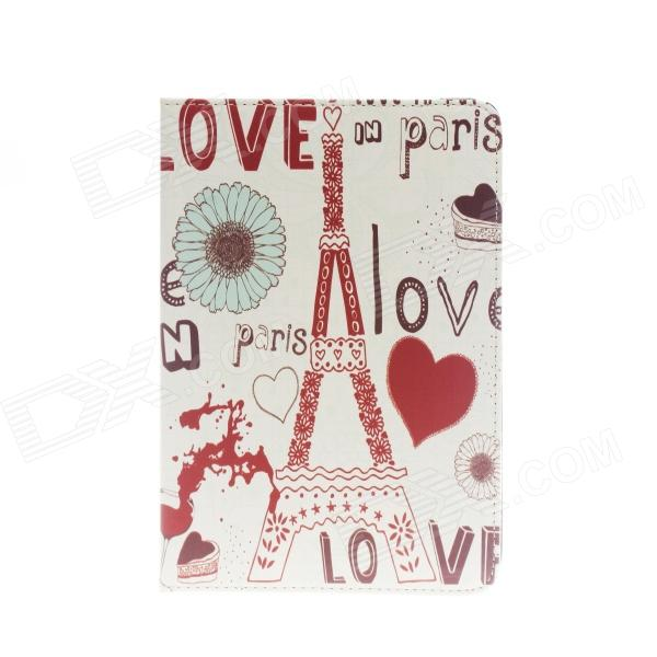Kinston Love in Paris Pattern PU Leather Full Body Case with Stand for IPAD Mini 1 / 2 - White + Red ipad 4 in 1 photo lens