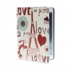Kinston Love in Paris Pattern PU Leather Full Body Case with Stand for IPAD Mini 1 / 2 - White + Red