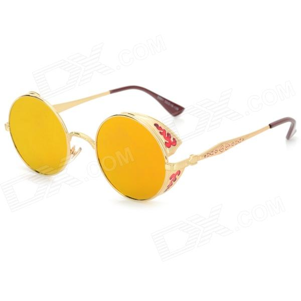 OREKA S881 Fashionable Retro Style PC Lens UV400 Protection Sunglasses - AT Camouflage - DXSunglasses<br>Frame Color AT Camouflage Lens Color Yellow REVO Brand OREKA Model S881 Quantity 1 Piece Shade Of Color Gold Frame Material Nickel alloy Lens Material PC Protection UV400 Gender Unisex Suitable for Adults Frame Height 5 cm Lens Width 5 cm Bridge Width 2.2 cm Overall Width of Frame 13.5 cm Packing List 1 x Sunglasses 1 x Cleaning cloth 1 x Case<br>