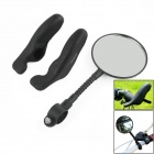 OUMILY Universal Flexible Bicycle Rearview Mirror w/ Mount + Bike Rubber Handlebar - Black (Pair)