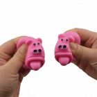 Rubber Stress Relief Squeeze Tongue Stick Out Pigs - Pink (2 PCS)