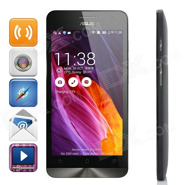 Asus ZenFone5 Android 4.3 Dual-Core WCDMA Smartphone w/ 5.0 Screen, Wi-Fi and GPS - Black otium s5 mtk6582 quad core android 4 4 2 wcdma smartphone w 5 ips otg wi fi and gps black